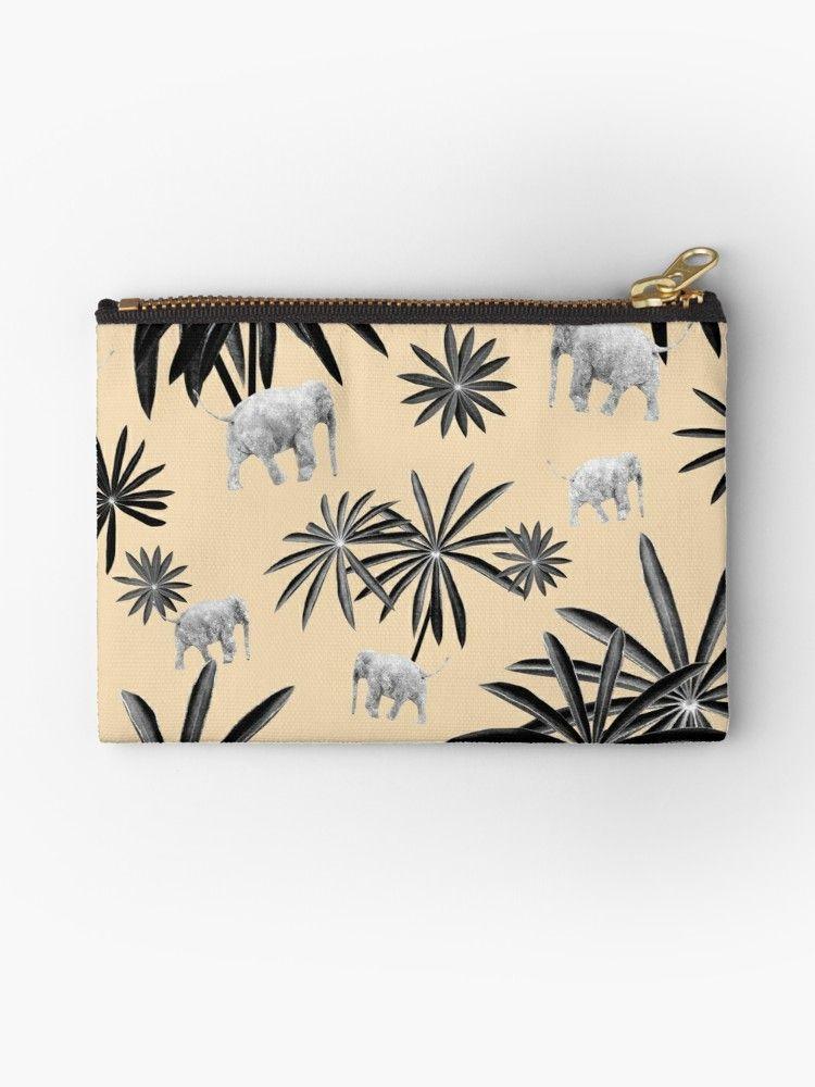 'Palm Tree Elephant Jungle Pattern #2 (Kids Collection) #decor #art ' Zipper Pouch by anitabellajantz #junglepattern