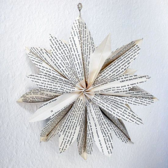 Hand Made Paper Mache Star from Vintage Books