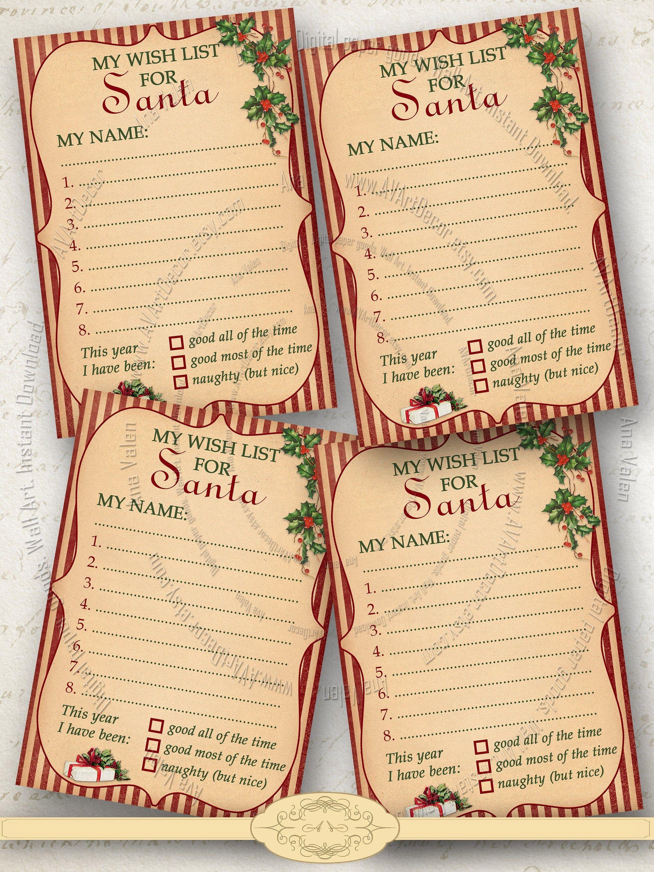 Christmas Wish List Printable 3.5x5 inches Gift list for