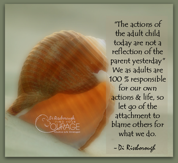 The actions of the adult child today are not a reflection of the parent yesterday. We as adults are 100% responsible for own own actions & life, for our own choices and decisions. So let go of the attachment to blame others for what we do.