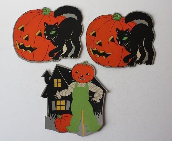 3-VINTAGE HALLOWEEN PUMPKIN- BLACK CAT-JOL- DIE-CUT CARDBOARD - vintage halloween decorations ebay