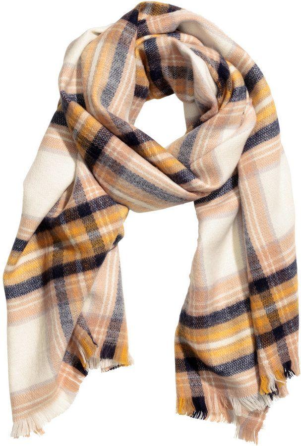 H M - Plaid Scarf - Yellow checked - Ladies  c3f83453a9