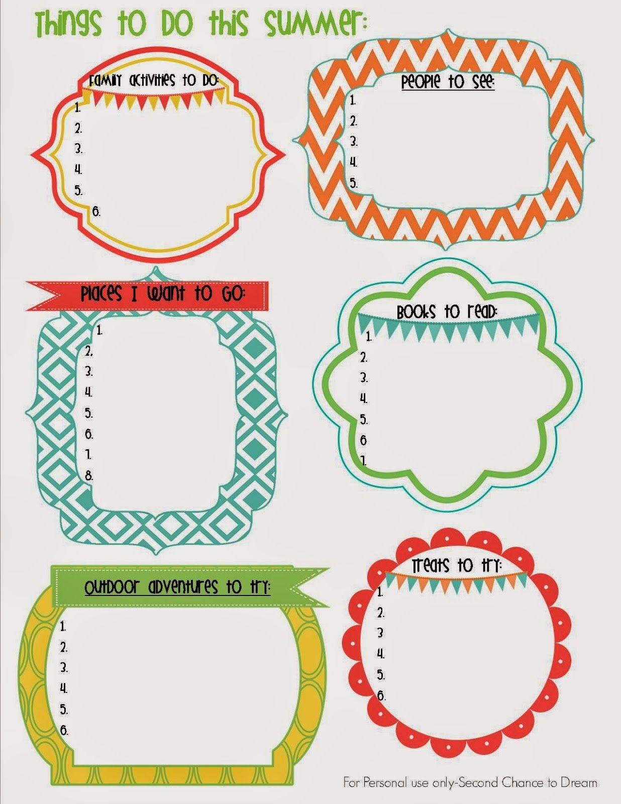 Second Chance To Dream Summer Goal Setting Printable Goal Setting Printable Printable Gift Cards Summer Goals