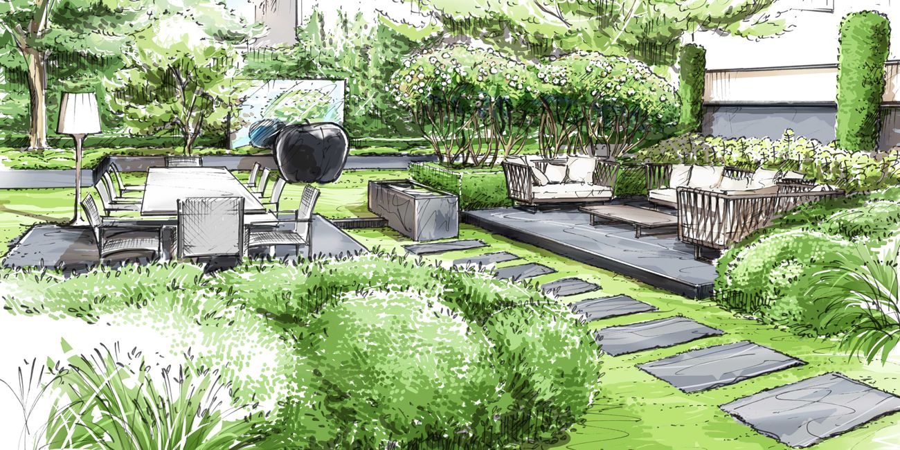 Jardin neuilly sur seine loup co architecture for Garden design sketches