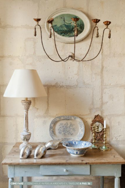 stone wall, blue and white transferware, chalky pale blue hall table
