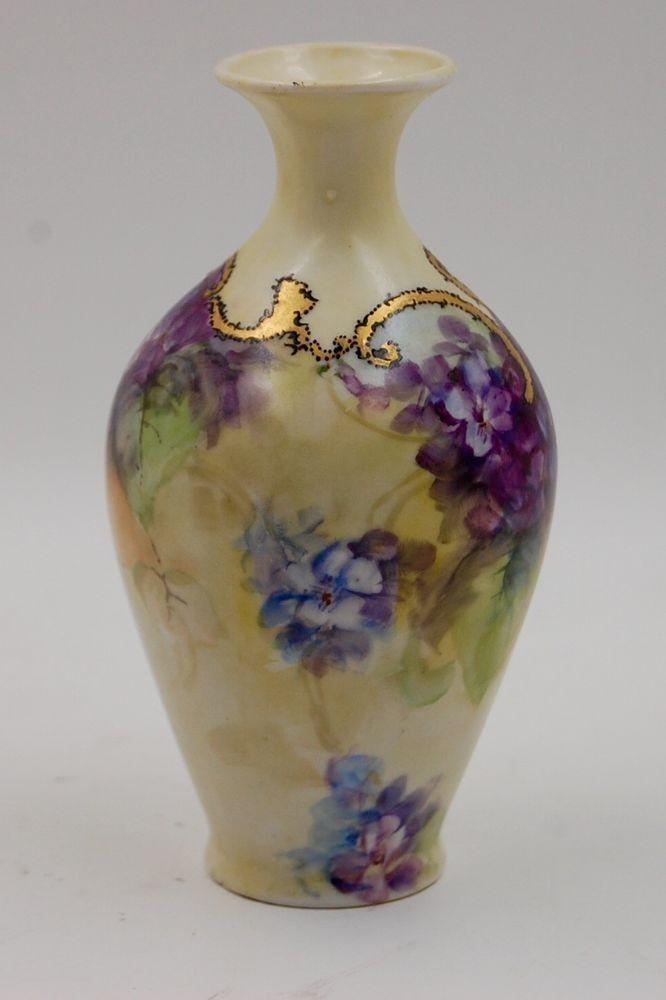 Antique Limoges Violet Hand Painted Vase Pinterest Painted Vases