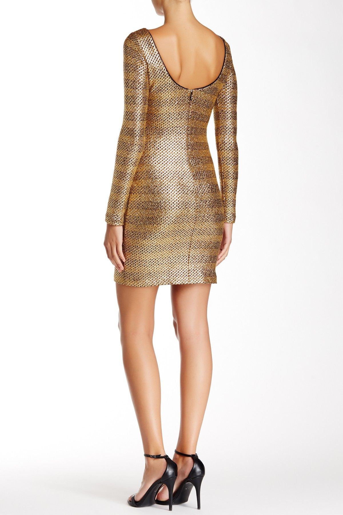 Belle by badgley mischka metallic textured long sleeve dress