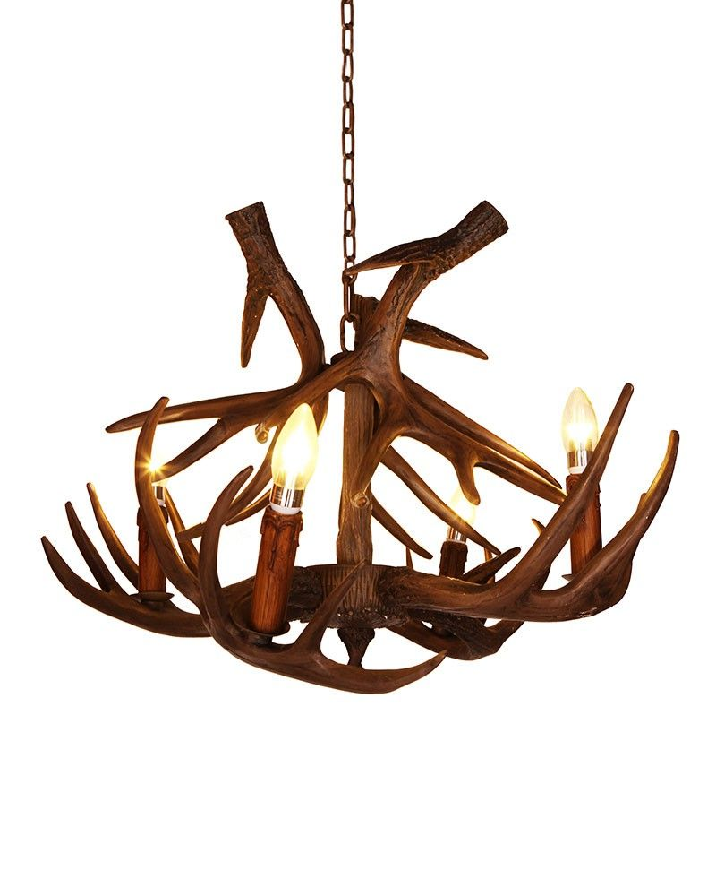 4 lights rustic faux antler chandelier lodge style lighting 4 lights rustic faux antler chandelier arubaitofo Choice Image