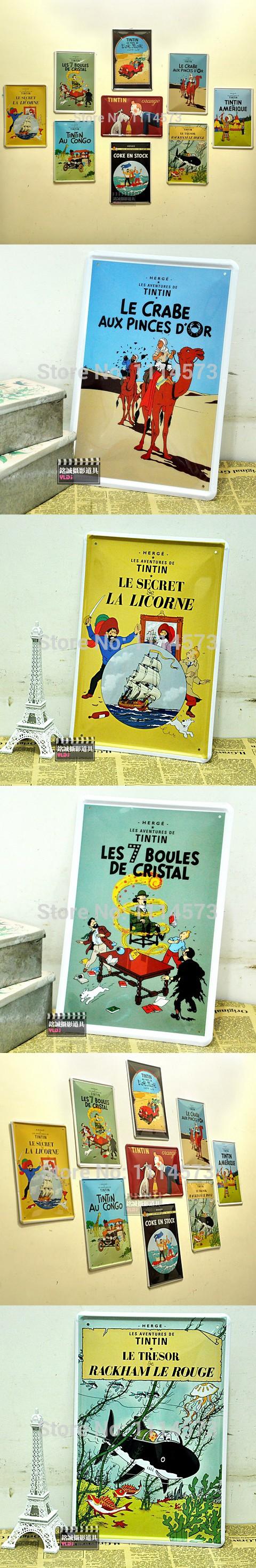 The Adventures of Tintin Vintage Poster Cartoon Retro decorative ...