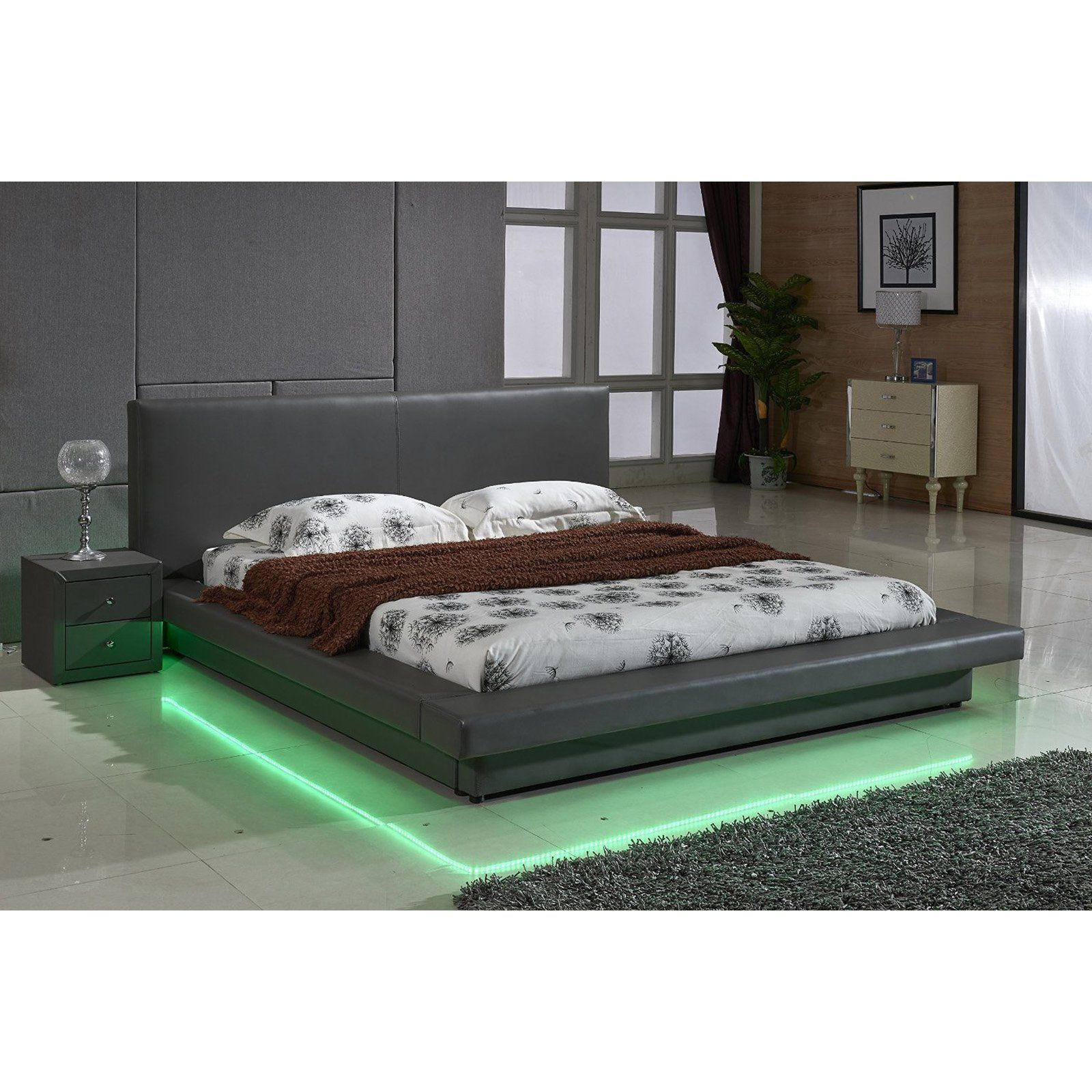 U S Pride Furniture Faux Leather Platform Bed With Led