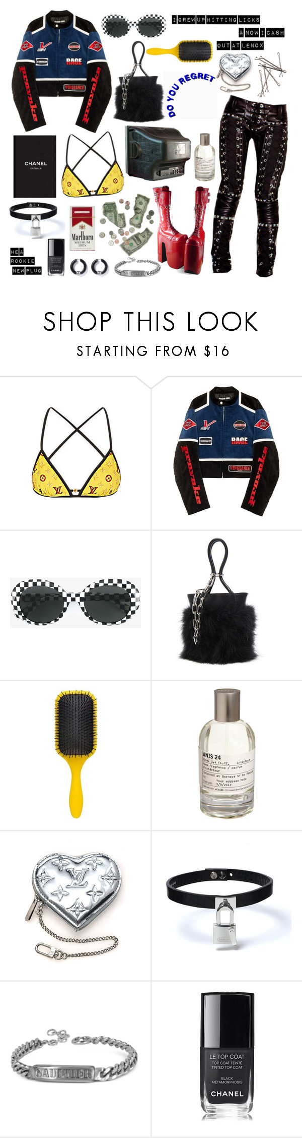 """On Me"" by lilslipknot ❤ liked on Polyvore featuring Vision, Louis Vuitton, Hyein Seo, Yves Saint Laurent, Alexander Wang, Denman, Le Labo, Jean-Paul Gaultier and Chanel"
