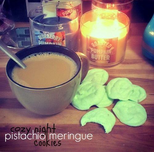 Cozy Night Pistachio Meringue Cookies. 170 Calories for all 18 cookies!