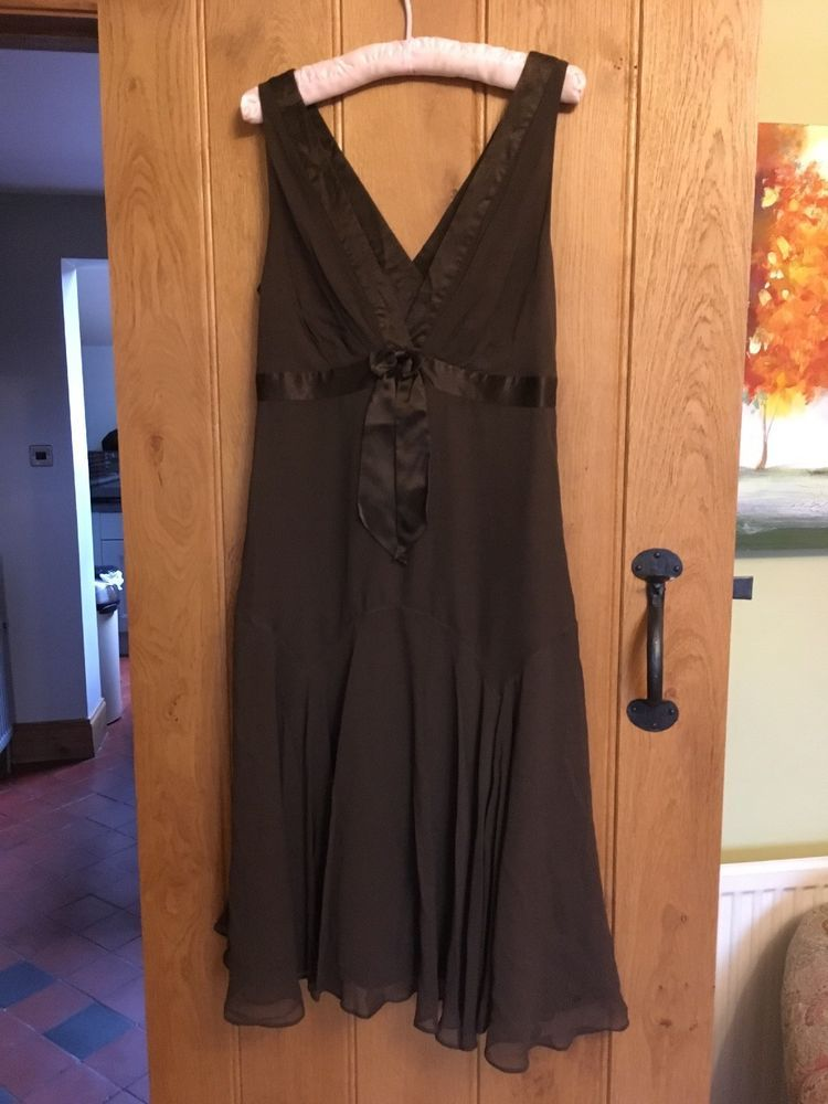 74c4d74f7d2 ted baker silk dress 4 14uk. Chocolate Brown  fashion  clothes  shoes   accessories  womensclothing  dresses (ebay link)