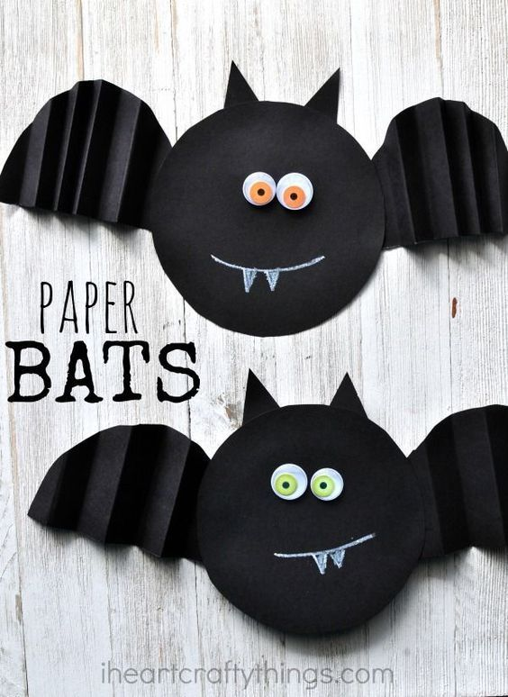 Simple Accordion Fold Paper Bat Craft craft ideas Pinterest - halloween kids craft ideas