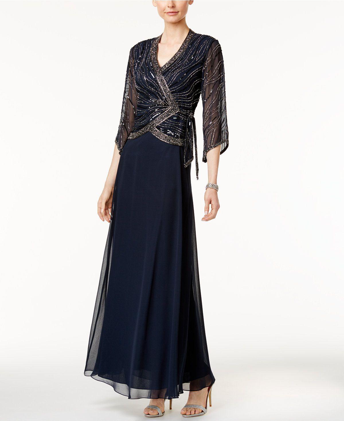 Macys womens dresses wedding  J Kara Beaded FauxWrap Gown  Dresses  Women  Macyus  Shawnnaus
