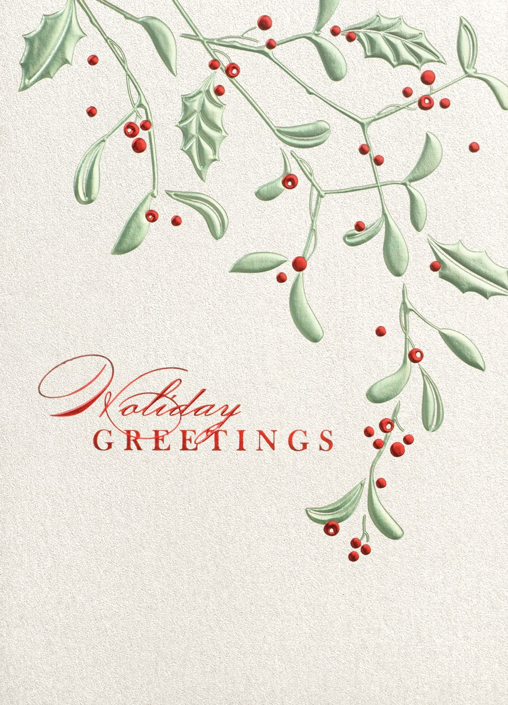 Holly And Berries Holiday Greeting Cards Green And Red Foil Form