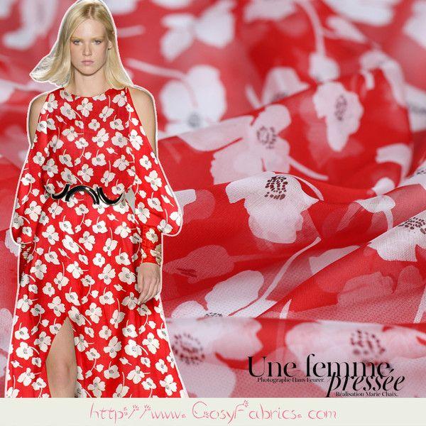Stoff Blumen - Rot Seide Chiffon Stoff mit Blumemuster Meterware - ein  Designerstück von FabricMade bei DaWanda 97a3e52432