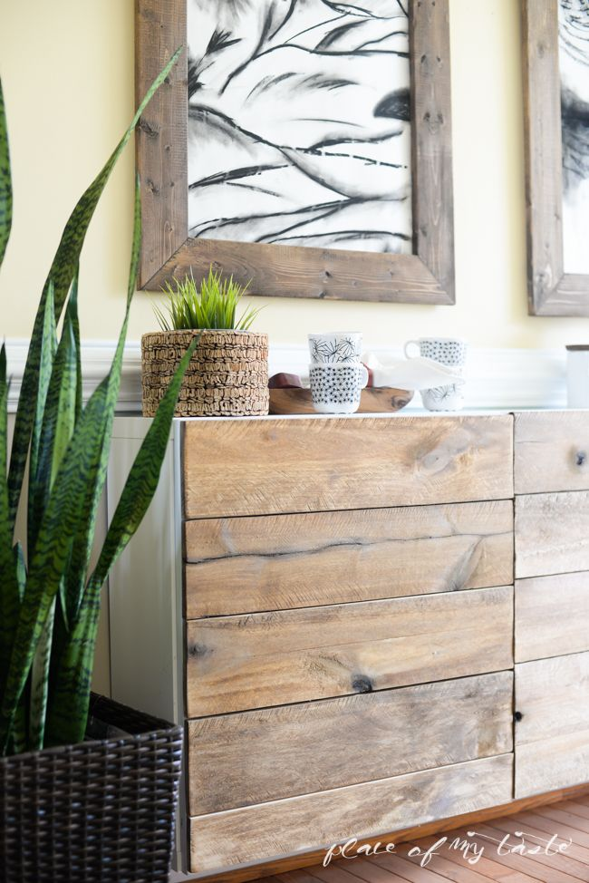 Ikea hacks diy reclaimed wood buffet wood screws for Pallet ikea