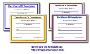 Free Printable Blank Certificate Of Completion Template For