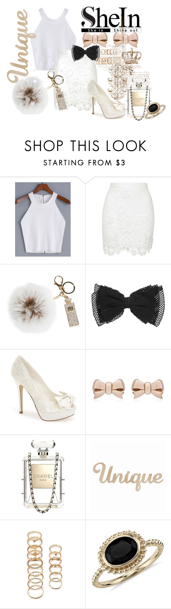 """SheIn"" by sapphire0205 ❤ liked on Polyvore featuring Overland Sheepskin Co., Menbur, Thomas Sabo, Chanel, Forever 21 and Blue Nile"