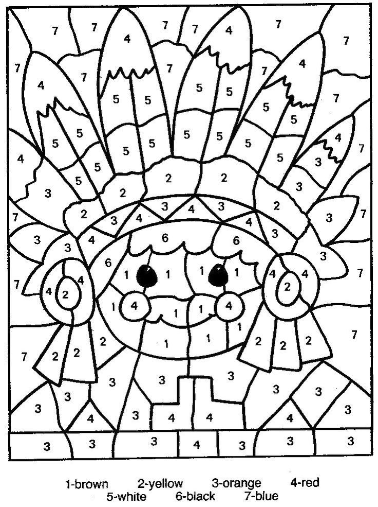 Free Printable Color By Number Coloring Pages Thanksgiving