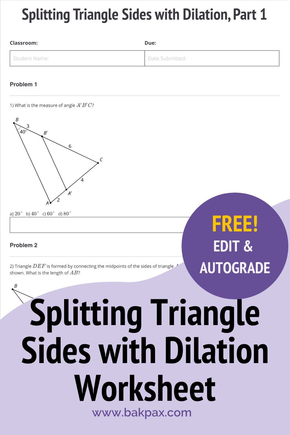 Free Splitting Triangle Sides With Dilation Geometry Worksheet Geometry Worksheets Triangle Sides Worksheets
