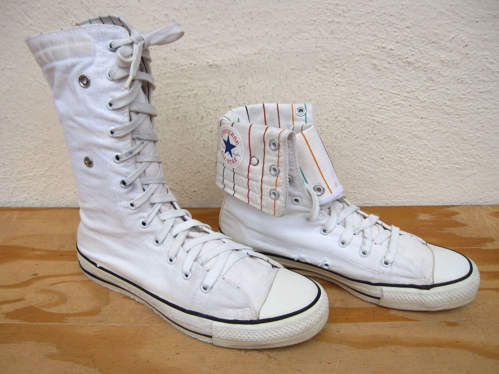 b04a6603f652 Rare Vtg 80 s Converse USA Made Sz 9 Square Label Extra Hi Chuck Taylor All  Star