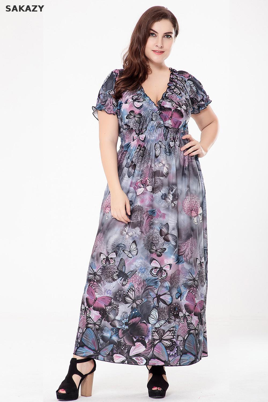 14c3164d010b 2017 Fat Mm Summer Dress L-6xl Bohemian Style Floral Printed Chiffon Maxi  Dresses Sexy