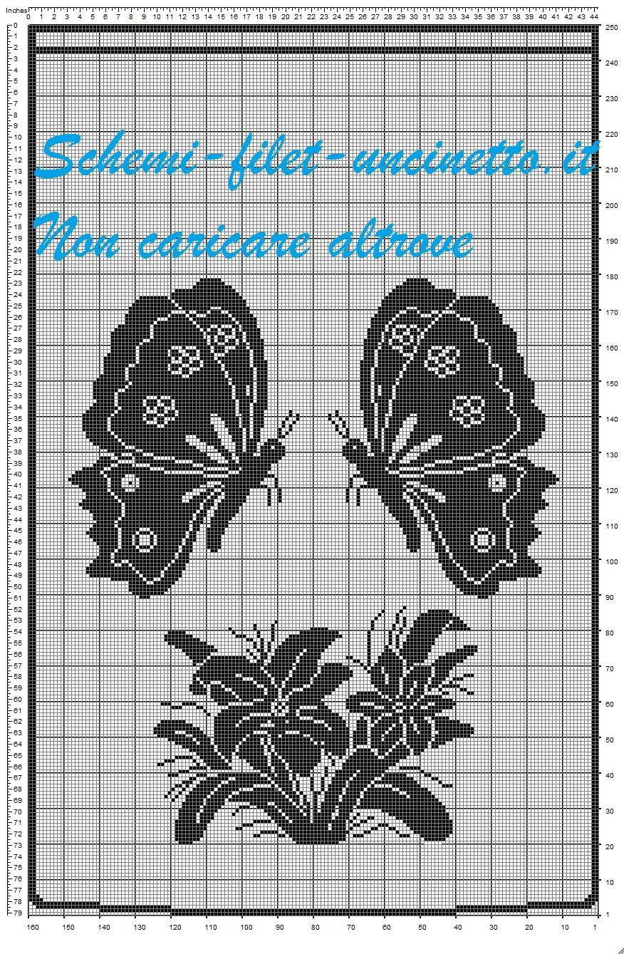 Schema filet uncinetto tenda farfalle e fiori tende a for Schemi punto croce fiori e farfalle