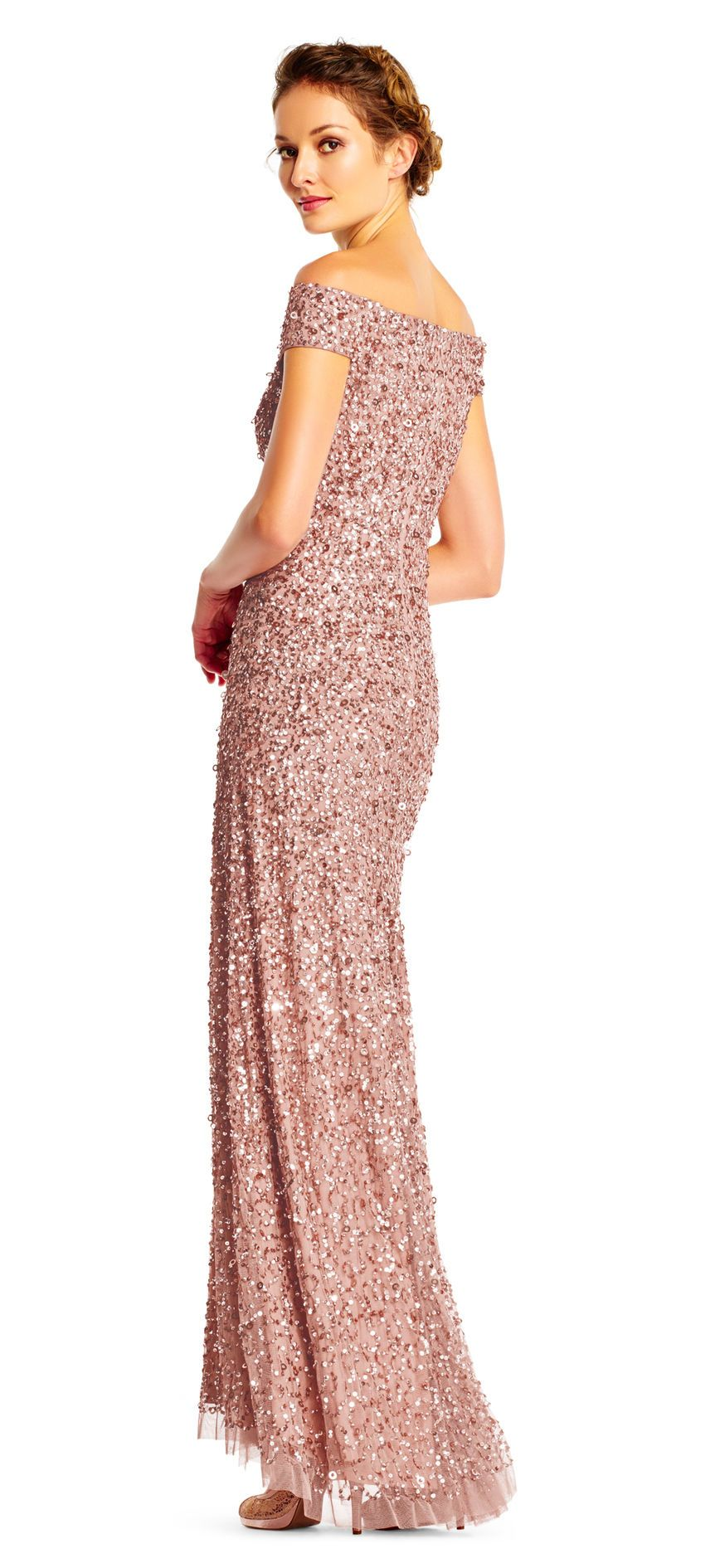 dc7242ac7d Off the Shoulder Sequin Beaded Gown | Mother of the bride dresses ...