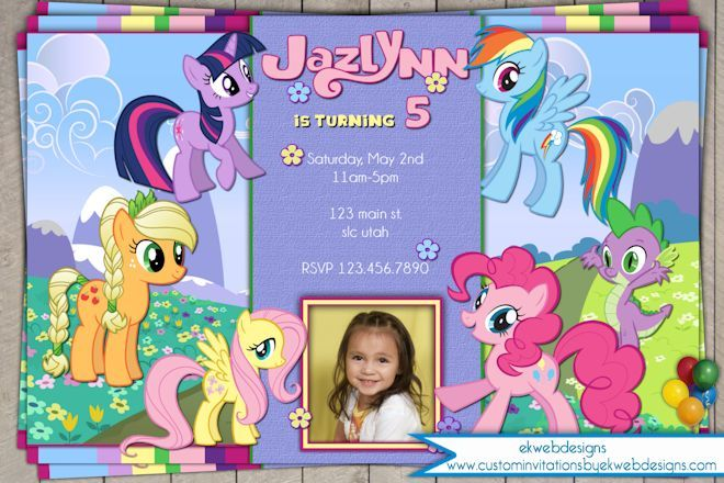 My little pony custom birthday invitation with or without photo my little pony custom birthday invitation with or without photo filmwisefo Choice Image