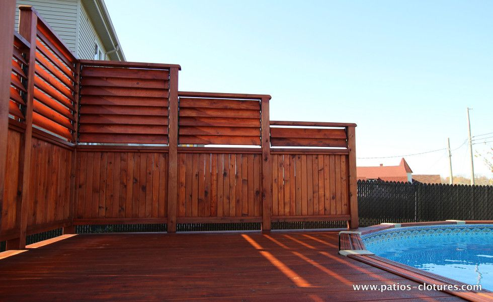 Privacy screens for an above ground pool deck isabelle for Pool screen privacy