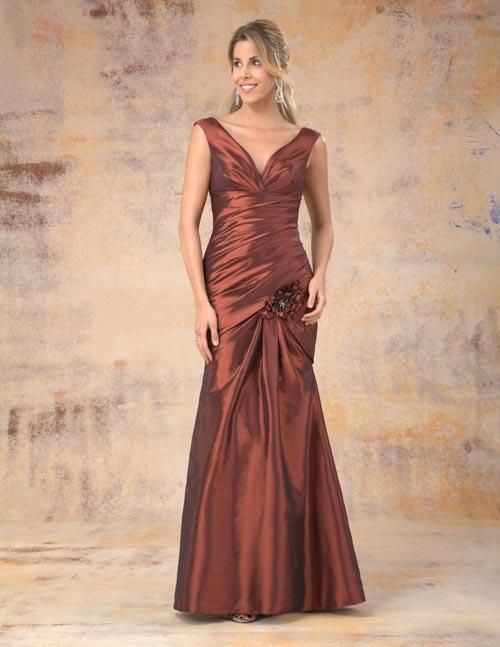 Balletts Bridal - 18625 - Bridesmaids by Venus Bridals - Venus - BM taffeta - V neck, wide strap, pleated waistband, side pleats on bodice/ flowers