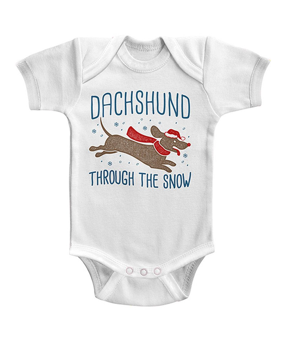 This White \'Dachshund Through the Snow\' Bodysuit - Infant by jiminy ...