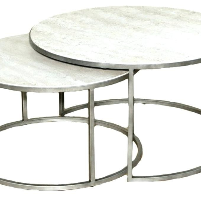 hammary silver metal round nesting coffee tables living