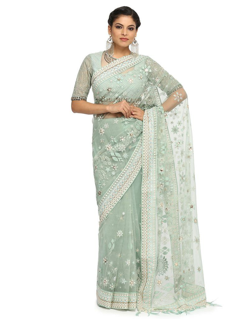 1dae201746aaf5 Embroidered Net Saree & Blouse- Mint Green | Ethnic Women's Fashion ...