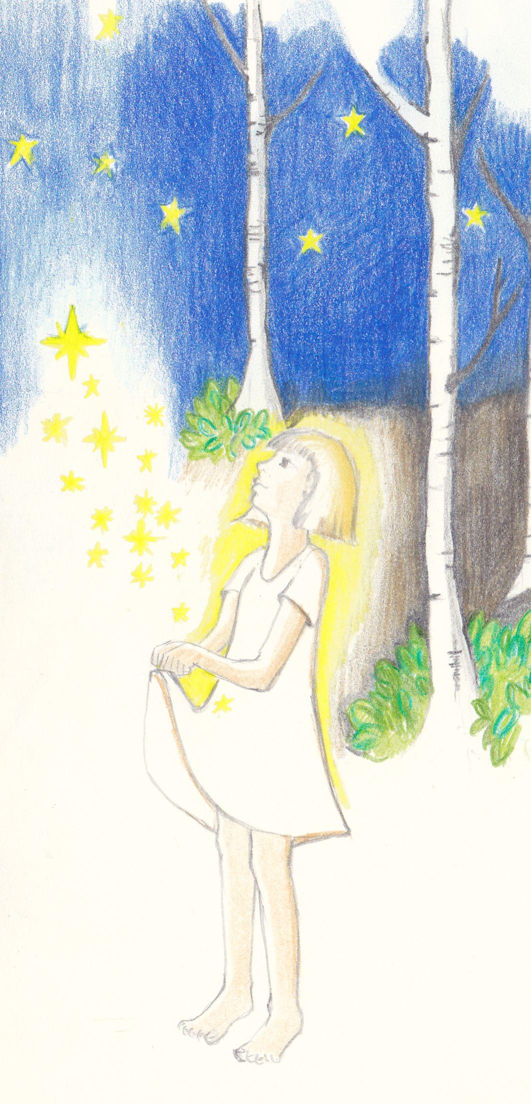 Die Zeichnung zu den Sterntalerarbeiten - 2 Tage colorieren mit Buntstiften - immer abends.