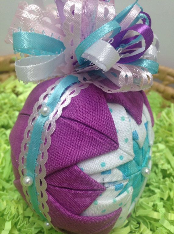 Quilted folded fabric holiday ornament purple turquoise white quilted folded fabric holiday ornament purple turquoise white full bow easter egg decoration christmas tree handmade gifts under 20 negle Gallery