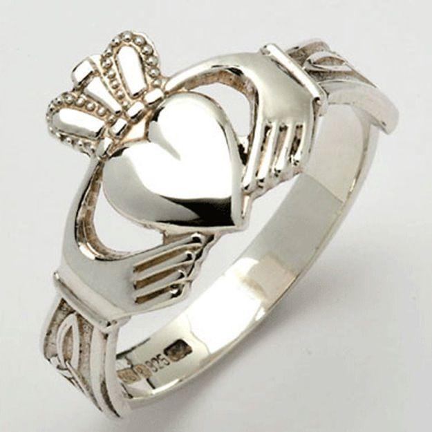 Silver Claddagh Irish Wedding Rings