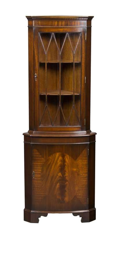 This Elegant Vintage Bow Front Corner Cabinet Was Made In England C1960. It  Features Antique Style Astragal Glass And Locking Doors. Very Good  Condition.