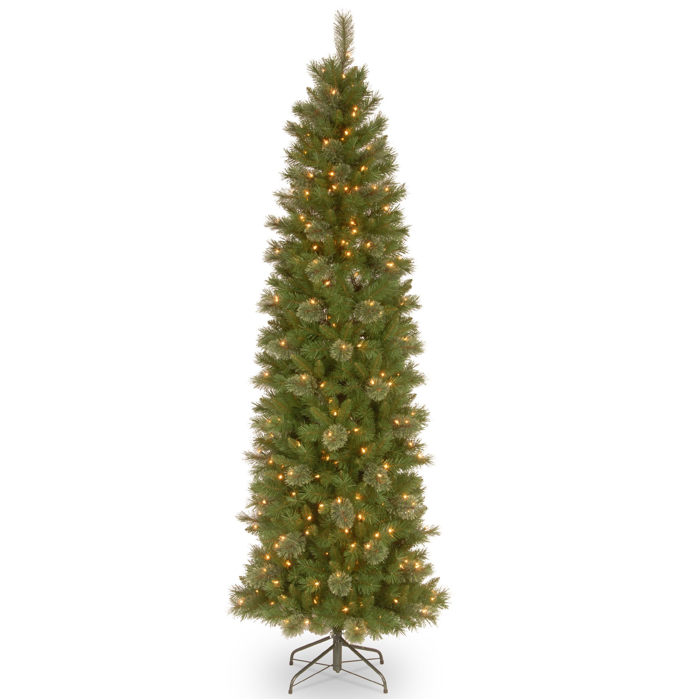 7 1/2' Tacoma Pine Pencil Slim Tree with 350 Clear Lights (350 Clear Lights), Green (Metal)