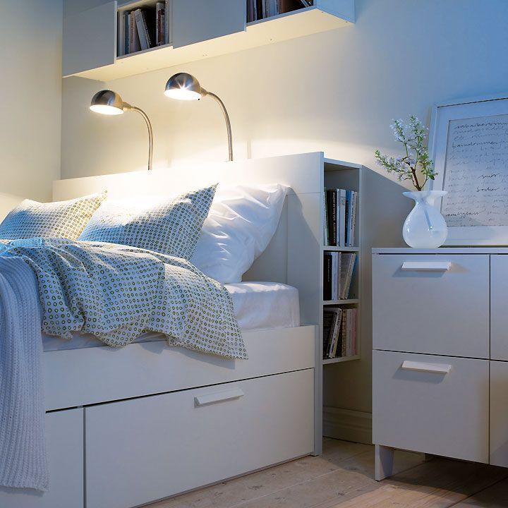 Petits Espaces Conseils Deco Pour Amenager Une Petite Chambre Astuces Deco Tete De Lit Avec Rangement Amenagement Petite Chambre Lit Rangement
