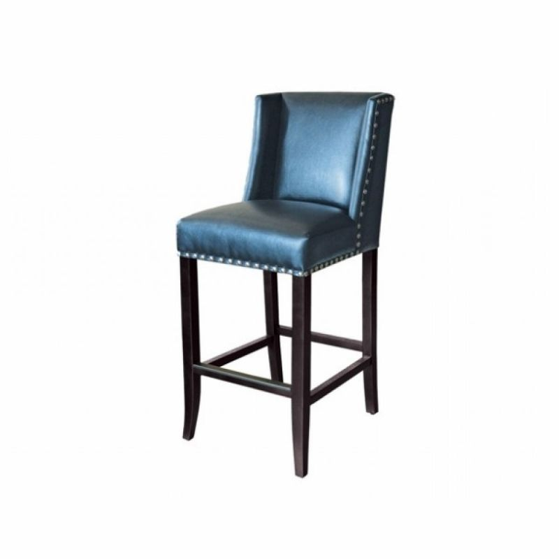 Sunpan Marlin Leather Bar Stool In Blue Nobility Height Counter  Stools At Toronto49
