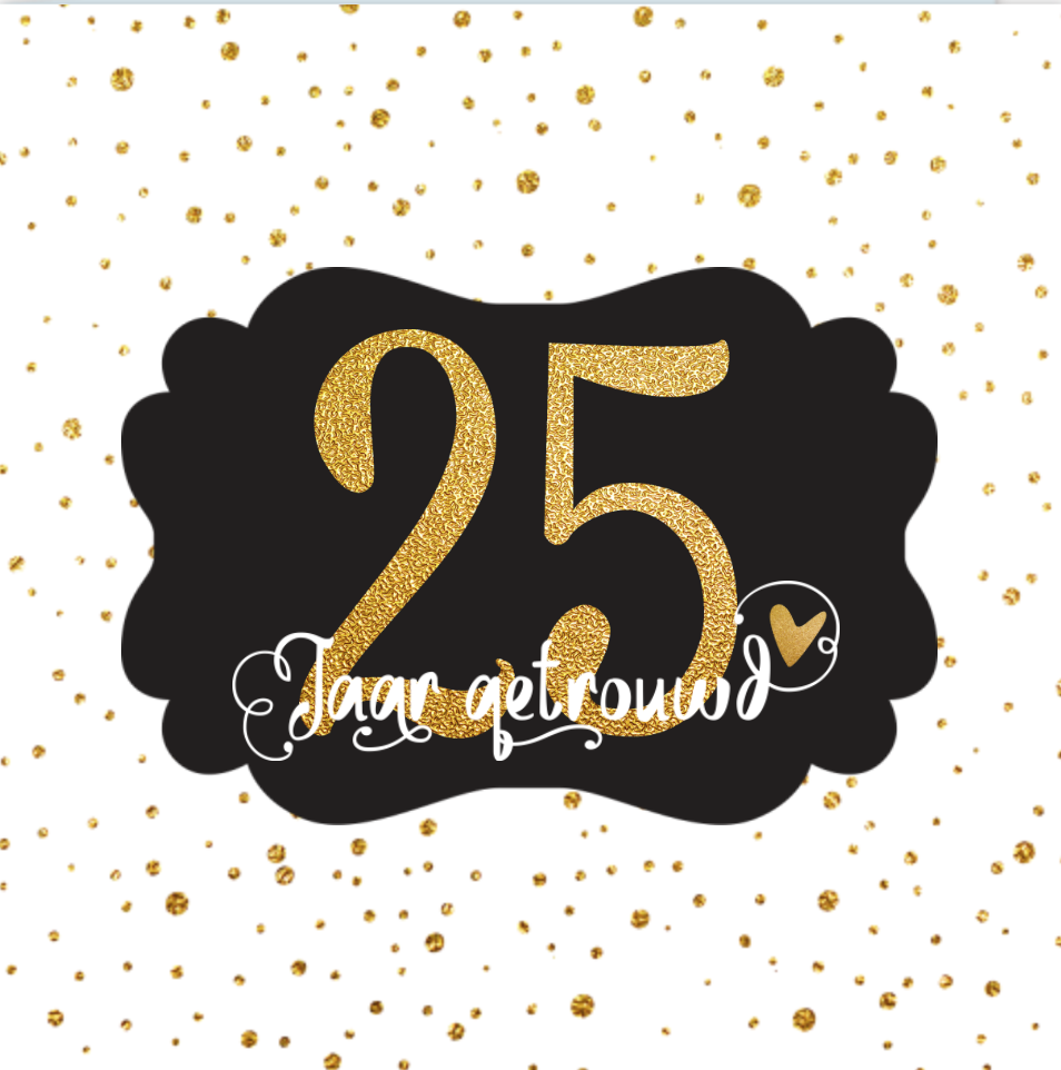 Lovz Uitnodiging 25 Jaar Getrouwd Goud Look Confetti En