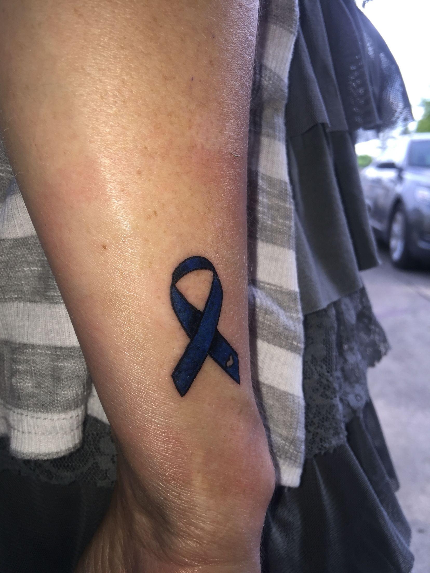 My New Colon Cancer Ribbon Tattoo Cancer Ribbon Tattoos Ribbon Tattoos Cancer Tattoos