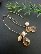 Photo of Items similar to champagne quartz, pearl, leaf, petal earrings … … – Items …