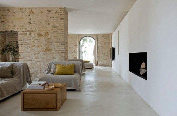 Ideen Für Wandgestaltung Wohnzimmer Gestalten Moderne Feuerstelle