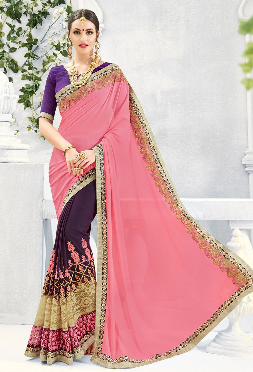 Light Pink Georgette Half N Half Saree