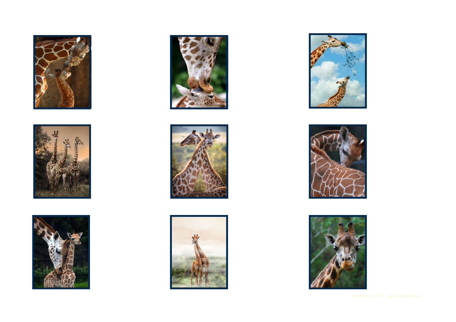 Tiles For The Giraffe Matching Game By Autismespektrum