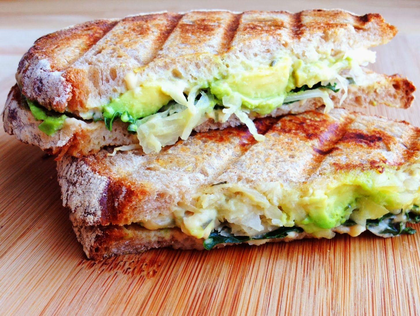 Wholly Vegan: Avocado, Hummus, Kale, and Sauerkraut Panini